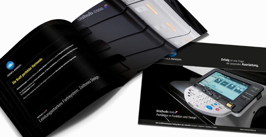 Referenzen Werbeagentur hanner inc. Konica Minolta Folder schwarz Bizhub