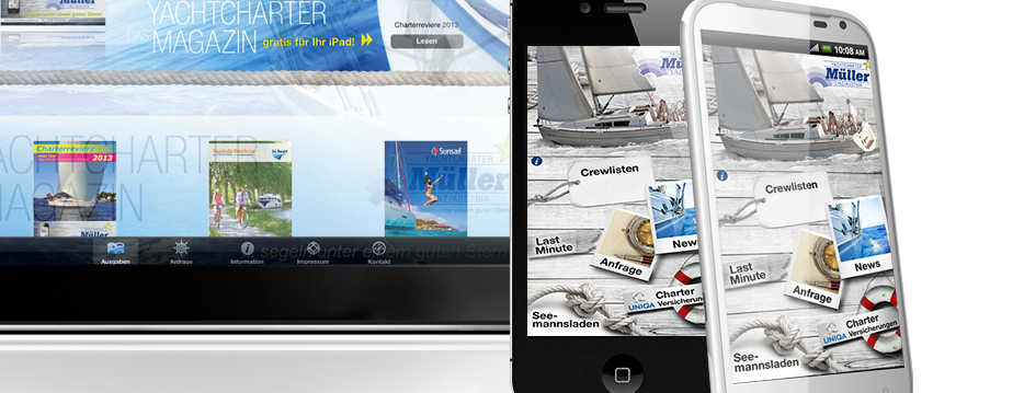 Referenzen Werbeagentur hanner inc. Online und Mobile Yachtcharter Müller