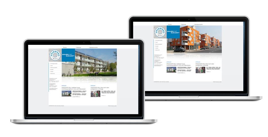 Referenzen Werbeagentur hanner inc. Wordpress Website Priesner Bau