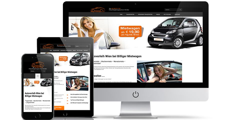 Online und Mobile Werbeagentur hanner inc. Billiger Mietwagen