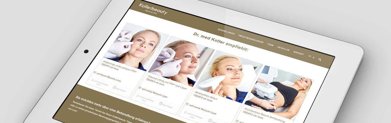 Online Shop Kollerbeauty. Werbeagentur Dr. Koller Kollerbeauty, Kollerplast und Kollermed. Werbeagentur Linz Nähe
