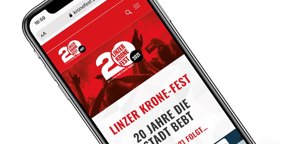 Kronefest Linz Webseite (Kronen Zeitung) von hanner inc. GmbH Werbeagentur