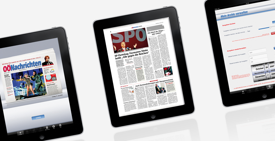 OÖ Nachrichten iPad App Agentur hannerinc aus Walding bei Linz