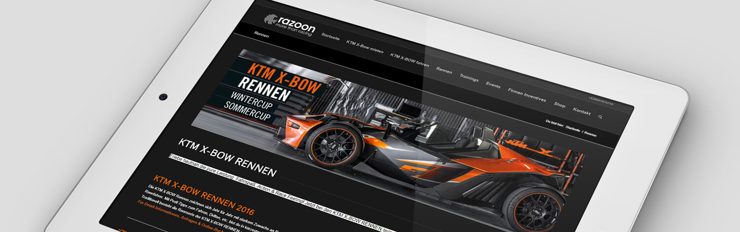 Wordpress Website KTM X-Bow. Webdesign, Programmierung, Wordpress Online Shop WooCommerce, SEO Agentur & Online Agentur KTM Xbow