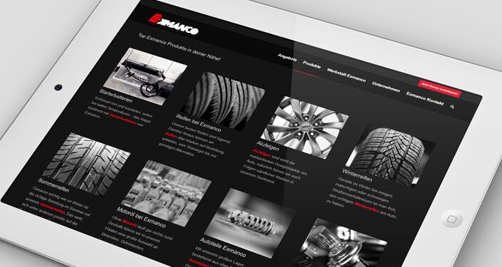 Wordpress Website Exmanco Österreich. Responsive Wordpress Webseite. Wordpress Online Shop und Configurator mit Features
