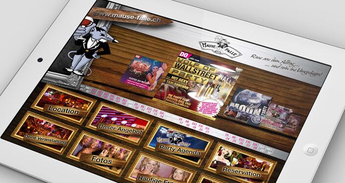 Wordpress Website Mausefalle Schweiz, CMS Webseite - Webdesign, Programmierung für Lokal, Diskothek