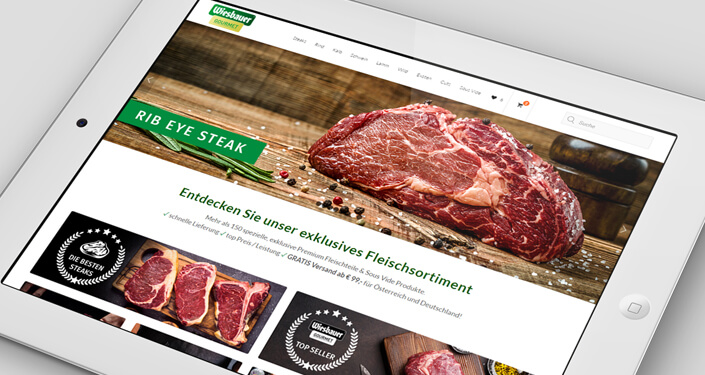 Wordpress Website Wiesbauer-Gourmet. Werbeagentur Wiesbauer Gourmet. Wordpress Webdesign, Woocommerce Online Shop. Shop SEO, Online Shop Suchmaschinen Optimierung