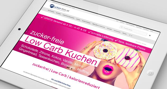 Wordpress Website zucker-frei Online Shop. Werbeagentur Zucker-Frei Online Shop