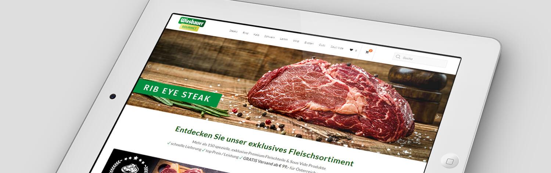 Wordpress Website Wiesbauer Gourmet. Online Marketing und Ecommerce Online Shop. Wordpress Website mit integriertem Online Shop